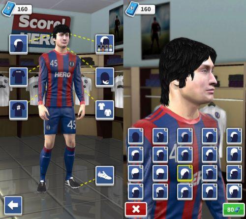 キャラクターカスタマイズ画面と髪型変更画面