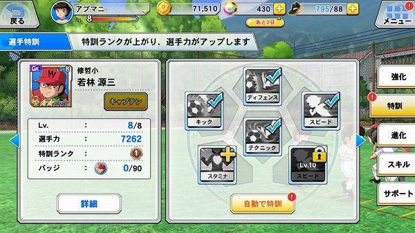 キャラクターの能力値画面