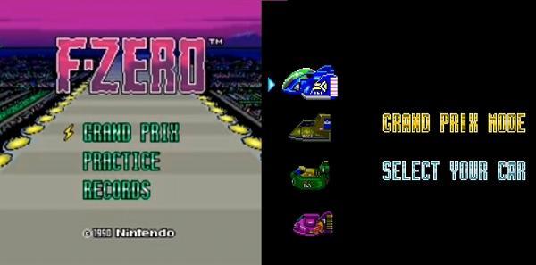 F-ZEROのタイトルと機体選択画面