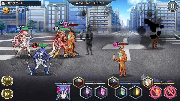 戦姫絶唱シンフォギアXDの戦闘画面